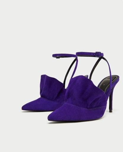 Zara - scarpa con tacco in pelle viola e dettaglio volant
